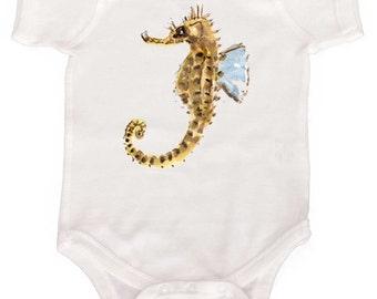 Funky Punky Sea Horse baby Bodysuit  Beach Romper by Mumsy Goose Newborn Rompers to Kids Tees