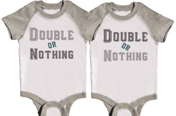 Funny Twin Boys Bodysuits Twin Set Grey One Pieces Raglan Romper by Mumsy Goose Boy Bodysuits