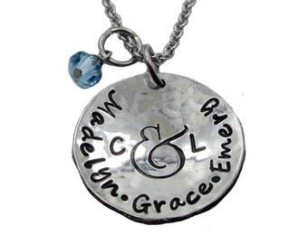 Name and Initial Hand Stamped Mom Necklace