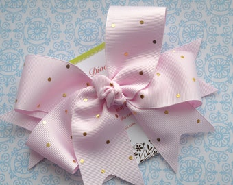 Palest Pink with Golden Dots XL Diva Bow