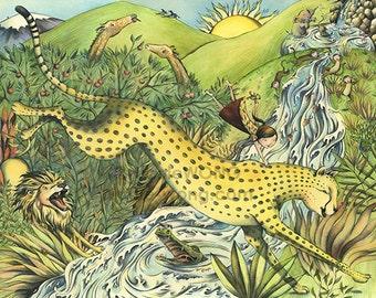 8x10 signed archival art Print -- Cheetah Adventure