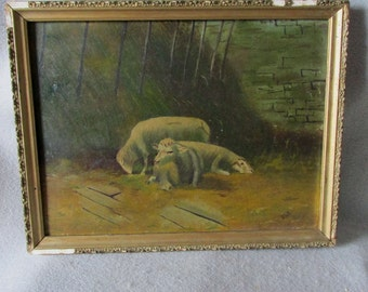 Antique Folk Art Oil Painting of Sheep and Cottage