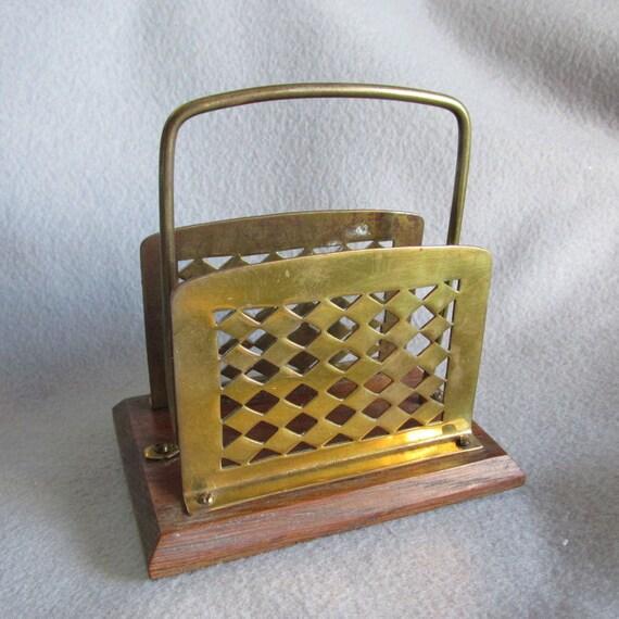 Antique english desk letter holder brass oak for Vintage letter holder desk