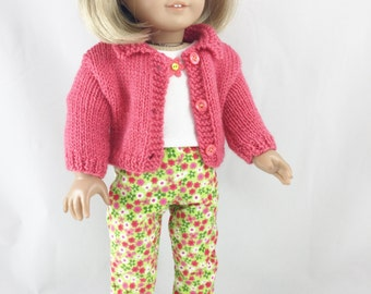 18 Inch Doll Clothes Hand Knit Coral Sweater T Shirt Corduroy Floral Pants 3 Piece Set Coral Pink Bright Green Retro Flowers Girls Toy