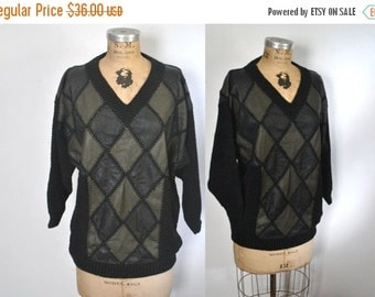 SALE 40% OFF Leather Knit Sweater / S-L