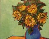 "Sunny Friends - Original Acrylic Oil Still Life Painting - 12""x 12"""