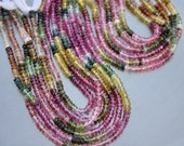"Pink Green Blue Amber Multicolor Gem Watermelon Tourmaline 3.4-3.6mm Faceted Rondelle Beads full 14"" strand"