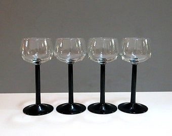 Black Stemmed Champagne Coupe Wine Glasses France Vintage 1950s 60s Set of 4