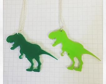 T-Rex Necklace - laser cut acrylic