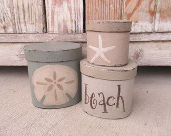 Nautical Beach Coastal Sand Dollar and Star Fish Oval Set of 3 Stacking Boxes GCC6281