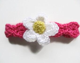 Ready To Ship - Pink Crochet Baby Headband - Watermelon Pink Baby Headband - Size 3 to 6 Months - Pink Headband White & Yellow Flower