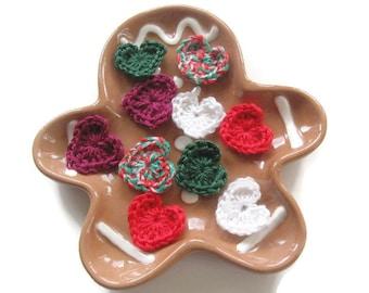 Ready To Ship Small Crocheted Christmas Hearts - Crochet Heart Embellishments  - Crochet Heart Appliques - Crocheted Craft Hearts