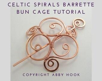 Celtic Spirals Barrette, bun cage or Shawl pin, Wire Jewelry Tutorial, PDF File instant download