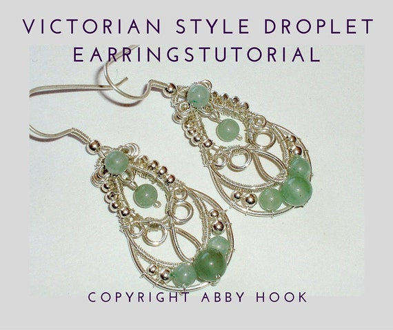 Victorian Style Droplet Earrings, Wire Jewelry Tutorial, PDF File instant download