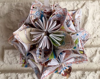 Paris Street Maps Small Paper Flower Pomander Ornament