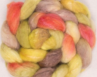 Hand painted Merino, Bamboo, fiber, Hand dyed fiber, hand dyed combed top,  felting fibre, spinning wool,  hand dyed roving , Pippin
