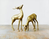 vintage brass deer figurines, pair of spotted brass deer