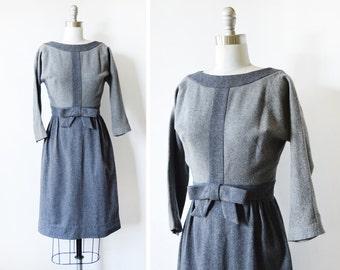 50s gray wool dress, vintage 1950s dress, small gray wiggle dress