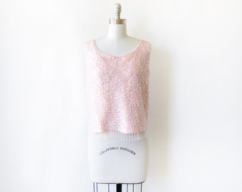 pink sequin top, vintage 60s beaded tank top, wool knit shell, small medium top