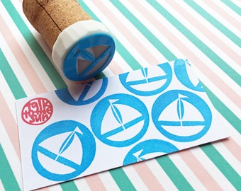 sailing boat stamp. nautical hand carved rubber stamp. yocht sailboat stamp. diy summer birthday father's day scrapbooking. mounted