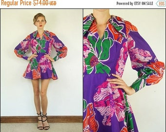SUMMER SALE Vintage 60's Floral Flared Preppy Chiffon Party Dolly Boho Prom Mini dress M