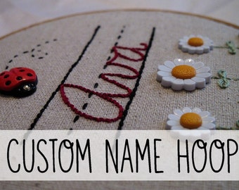 Custom Name Embroidery Hoop Art. Personalized Gift Embroidery Wall Art Hand Embroidered Hand Stitched Trains Cars Ladybug Custom Made Kids