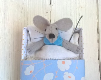 Stuffed felt miniature mouse in matchbox, felt  plush animal, turquoise, blue, handmade doll