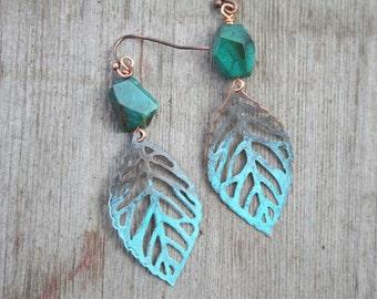 Turquoise earrings boho earrings leaf earrings Bohemian jewelry