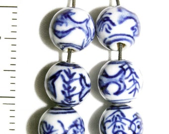 Delft BLUE and WHITE Porcelain Bead Lot of 16 Jewelry & Beading Supplies Pendant Necklace Findings Crafts