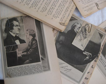 Vintage collection of 26 condensed Biographies of the greatest composers, with pictures. Compiled by a music lover child in 1954