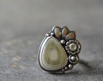 Sterling Jasper Ring, Prehnite Ring, Oxidised Sterling Silver Ring, Gemstone Metalwork Ring - Inflorescence Ring in Imperial
