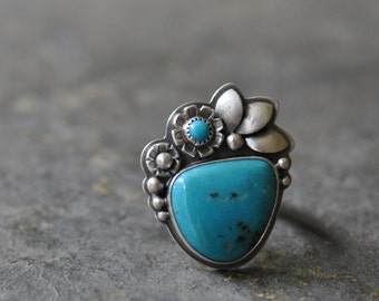 Sterling Turquoise Ring, Oxidised Sterling Silver Ring, Gemstone Metalwork Ring - Inflorescence Ring in Turquoise