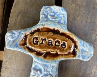 Artisan Farmhouse Blue Grace Ceramic Clay Pottery Cross