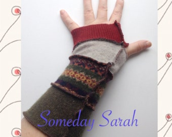 Maroon, Olive and Grey Patterned Recycled Wool Arm Warmers Fingerless Gloves