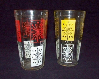 SALE  Vintage Large Glass Tumblers }Atomic Red & White } Atomic Yellow White   3903
