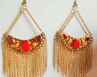 2 DAY SALE Vintage Dangle Chain LARGE Earrings, Pierced ears
