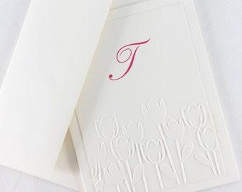 Tulip Embossed Note Cards Custom Stationery Personalized with Initial Letter by Lime Green Rhinestones