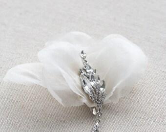 Wedding Hair Accessory, Silk Flower Hair Clip, Silk Organza Bridal Headpiece