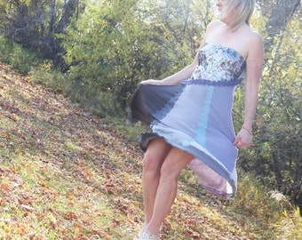 upcycled clothing, upcycled fashion, strapless dress . blue october . M - L