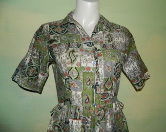 M 50s Cotton Dress Shirt Waist Day Dress Olive Green Orange Patchwork and Paisley Mid Century Novelty Print Mad Men