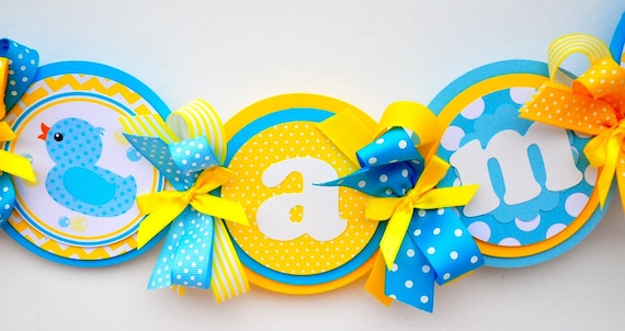 Rubber Ducky High Chair Banner, Deluxe High Chair  Banner. Rubber Ducky Birthday Party, Rubber Ducky Decorations