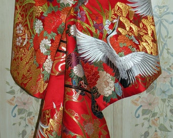 Silk Kimono Fabric Bridal Wrap/Shawl/Shrug/Bolero.Wedding Gift.Embroidered Flying Ivory Cranes and Flower Carts..Red/Gold..Clutch/Purse/Bag