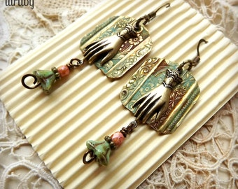 Lovely mixed media brass earrings with hands and flowers, found object jewelry, Mothers Day