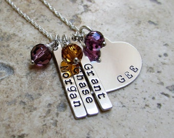Gift for Grandma or Mom Sterling Silver Heart  with Name Tags and Birth  Crystal Mothers Kids Necklace Gift Up to 36 Inch Chain
