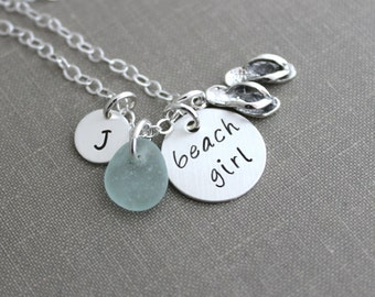 Beach Girl Necklace, Sterling Silver Stamped Disc, Flip Flop Charm, Sea Glass and Personalized mini Initial, Beach Jewelry, sandals flipflop