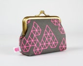 Frame purse - Geo drops in charcoal - Big Aunty / japanese fabric / EXCLUSIVE Rashida Coleman Hale's new collection Raindrop / neon pink
