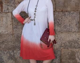 Ombre effect White Orange Color Dress long sleeves boho casual comfortable