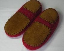 Non-slip Leather slipper soles for women's slippers - for knitting crochet felted slippers - brown leather soles - fits all  women's sizes