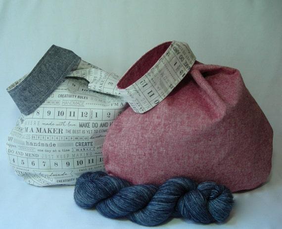 Sock Knitting Pattern Generator : Knitting Project bag - Japanese Knot bag - WIP yarn sock shawl scarf -