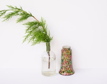 Retro Czech Glass Vase in mottled multi colour glass 1970's/Home Decor Idea